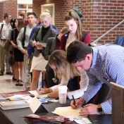 Students sign in for employer networking
