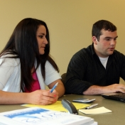Accounting students Sarah Vest and Matthew McKirahan