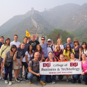EKU Business students pose at the Great Wall of China